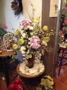 Large assortment of spring flowers. Great table centerpiece to take you way into summer