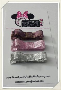 Baby Hair clips/ purple/pink/silver hair by BowtiqueMAx5byMady