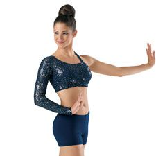 One-Sleeve Sequin Lace Dance Bra Top; Balera