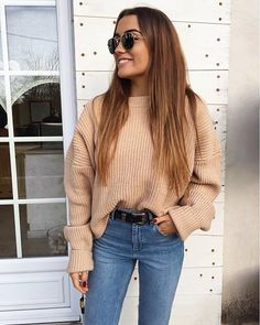 Chunky knit and light wash denim, update your classics with cool as can be accessories via @chloebbbb's western inspired belt and rounch sunnies | Get ready-to-shop details with www.LIKEtoKNOW.it | http://liketk.it/2pGHJ #liketkit