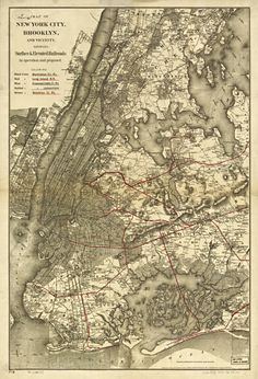 Antique Brooklyn Railroad Map Unique Wall Art — Giclee print and framed in USA by MUSEUM OUTLETS