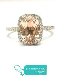 Oval Morganite Engagement Ring Pave Diamond Wedding 14K White Gold 7x9mm Cushion Halo from the Lord of Gem Rings https://www.amazon.com/dp/B01H4H36GG/ref=hnd_sw_r_pi_dp_kTGyxb9RAP088 #handmadeatamazon