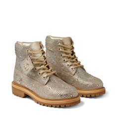 Golden Mix Shimmer Suede Boots with Crystal Hotfix | JC X TIMBERLAND/F | JIMMY CHOO X TIMBERLAND | JIMMY CHOO Golden Mix, Next Shoes, Yellow Boots, Suede Boots, Timberland Boots, Jimmy Choo, Me Too Shoes, Hiking Boots, Combat Boots