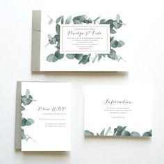 Eucalyptus Wedding Invitation, Botanical Wedding Invitation, Green Wedding Invitation, Wedding Invitation Suite, Wedding Invitation Set ..................................................................... Thank you for checking out this Printable Watercolor Wedding Invitation Suite from