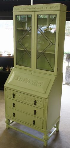 Example of small painted secretary and hutch.