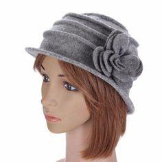 006d90cd Women Ladies Flower Wool Felt Bucket Hat Packable Foldable Cloche Cap