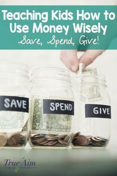 Teaching Kids How to Use Money Wisely with free save, spend, give printables