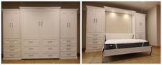 Our customer chose the Bedder Way Vertical Queen Dresser Cabinet Face Murphy Bed in oak painted White along with two side cabinets. Murphy Bed, Locker Storage, Cabinets, Dresser, Queen, Gallery, Face, Closet, Furniture