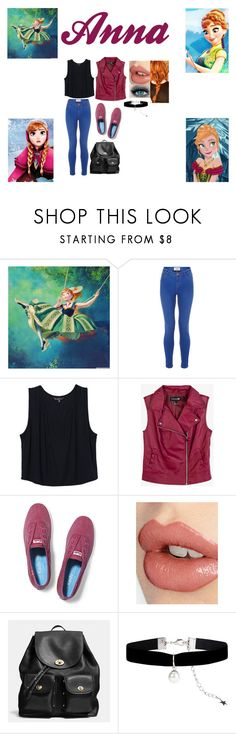 """Disney: Modern Anna"" by glee2shake ❤ liked on Polyvore featuring Disney, Forever 21, Keds, Charlotte Tilbury, Coach, Monsoon and modern"