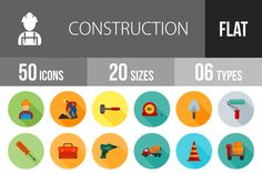 50 Construction Flat Shadowed Icons @creativework247