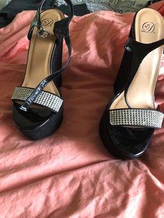 dae83f26a75 women shoes size 9. Worn twice. Black wedge heel with bling. Smoke free