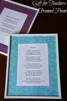 Gifts for Teachers: Framed Poem
