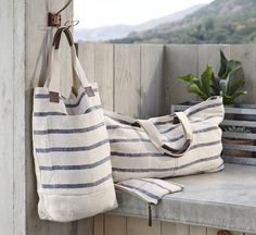 Roost Washed Linen Totes - Striped Blue *Next Day Shipping* – Modish StoreRoost Linen Striped Totes at White Nest MarketLinen Striped Tote - summer at the beach. Lined, pockets, and leather accents.Washed Linen totes on Sale. Enter to receive and a Big Bags, Small Bags, Sacs Design, Grain Sack, Linen Bag, Fabric Bags, Handmade Bags, Tote Bags, Purses And Bags