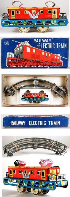 c.1950 Masudaya, Clockwork Railway Electric Train in Original Box