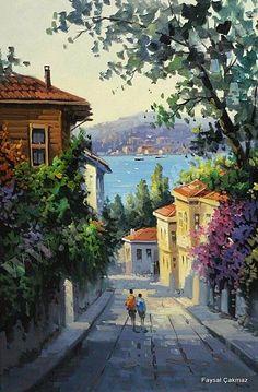 Collage Landscape, Landscape Paintings, Beautiful Landscapes, Beautiful Images, Japon Illustration, Turkish Art, Art Pictures, Photos, Seascape Paintings