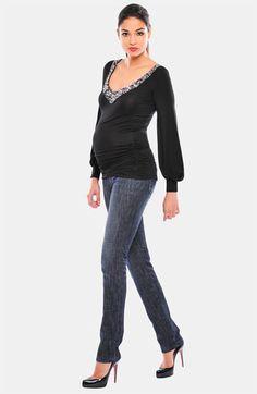 Olian Maternity Embellished V-Neck Top | Nordstrom