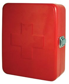 First Aid Box Red or White    Enameled steel with chromed latch. First aid supplies not included. Can be mounted to the wall.    $23.00