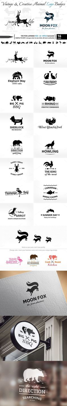 Vintage & Creative Animal Logo Badge. Premium Icons. $16.00