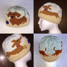 Darling Dachshunds Hat Knitting Pattern in two sizes; ages 4 - with a finished circumference of and adult medium with a finished circumference of In PDF format. Loom Knitting, Baby Knitting, Dinosaur Hat, Knitting Patterns, Crochet Patterns, Knit Crochet, Crochet Hats, Kids Hats, Knitting Projects