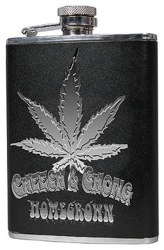 Cheech & Chong Homegrown Flask by NECA. $16.95. Inspired by the Cheech & Chong cult classic, Up In Smoke, this awesome 6-ounce black & silver stainless steel flask with vinyl wrap features the artwork of a very familiar plant. Includes steel funnel and attached screw on cap. Comes in a decorative gift box.