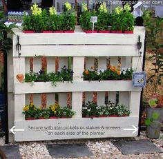 diy pallet planter, diy, gardening, how to, pallet, repurposing upcycling, succulents, woodworking projects, To secure the planter I used 2 star pickets either end but you could just as easily add horizontal timber feet at the base