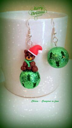 orecchini in fimo orsetto babbo natale #natale #christmas #fimo