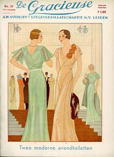Модные журналы, 1930-е годы Colorful Fashion, Retro Fashion, Vintage Fashion, Art Deco Fashion, Fashion Prints, Gowns Of Elegance, Elegant Gowns, Fashion Magazine Cover, Magazine Covers