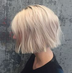 blonde chin-length blunt bob