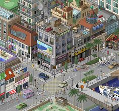 Pixel art is fascinating! Created pixel by pixel, here are 20 designs that will leave you breathless! If you've ever attempted to create a true pixel art Isometric Art, Isometric Design, Graphic Design Illustration, Illustration Art, Pixel City, Urban Design Concept, 8 Bits, City Icon, Pixel Design