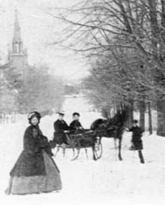 Photograph in winter, location unknown, Appears to be ca. Antique Photos, Vintage Pictures, Vintage Photographs, Old Pictures, Old Photos, Vintage Images, Vintage Postcards, Victorian Life, Victorian Street