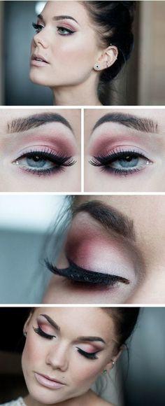 Linda Hallberg makeup. Rose eye shadow.
