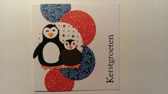 Kerstkaart met pinguïns.