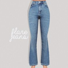 flare jeans !!!!!!!!! new mesh / 5 swatches cause i can't recolor denim / has morphs / not HQ compatible / high poly: around 8k for LOD_0 download @ my blog