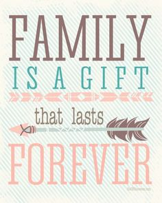 Free Printable: Family is a gifts that lasts forever. More colors available at the36thavenue.com