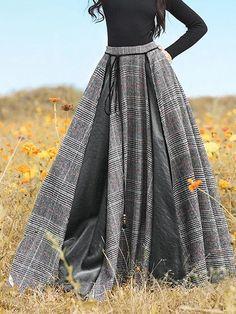 Long Vintage Plaid Skirt - Brown S Long Plaid Skirt, Long Skirt Outfits, Plaid Skirts, Dress Long, Vintage Outfits, Vintage Dresses, Cotton Dresses Online, Dress Online, Plus Size Long Skirts