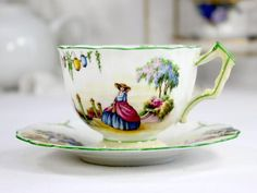Aynsley Crinoline Lady Teacup, Rare Tea Cup and Saucer, Bone China