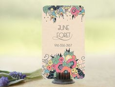 Floral Art Deco Business Cards  Calling Cards Custom by GoGoSnap, $76.00