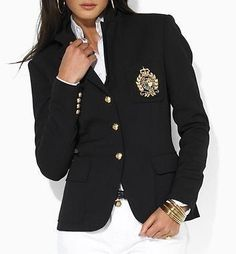 Ralph Lauren Crest Blazer Women's Polo Jacket Black NEW Gold Button MSRP $290