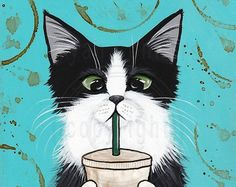 Coffee Cat Autumn Cat Folk Art LARGE Giclee Print