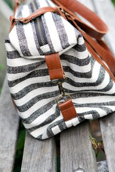 kelli's side-cinch tote in stripes and leather