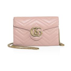Gucci Gg Marmont Matelass Leather Chain Wallet ($1,300) ❤ liked on Polyvore featuring bags, wallets, crossbody, pink, leather wallets, leather crossbody wallet, gucci bags, leather cross body bag and genuine leather wallet
