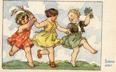 An old poscard I discovered and bought on website Vintage Girls, Vintage Children, Drawing Practice, Girl Dancing, Cool Art, Fun Art, Vintage Postcards, Art And Architecture, Childrens Books