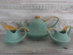 Acqua Moderne Tea Set with Gold Accents by TheAntiquaire on Etsy, $75.00
