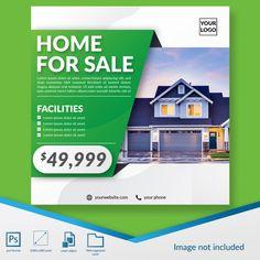 home for sale real estate promo offer social media post template banner Graphic Design Brochure, Brochure Layout, Graphic Design Posters, Branding Design, Identity Branding, Corporate Brochure, Brochure Template, Visual Identity, Social Media Poster