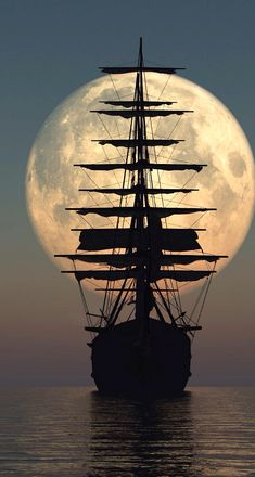 Pirate ship by moonlight