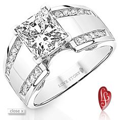 """309-12151  14 karat white gold semi mount engagement ring from the Epic Love Collection® by Love Story®, 1/2 carat total weight. Fits a princess cut center. Diamonds are I/SI2 """"minimum"""" quality."""
