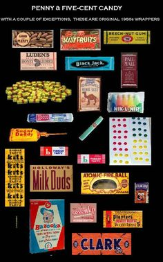 I grew up in the the prices of some of the candy may have been more than a penny. My allowance from grandma stilled allowed me to buy more candy than dentist would recommend. I learned to read the packaging and pricing of each candy. My Childhood Memories, Sweet Memories, Retro Candy, 1950s Candy, Vintage Candy Bars, Milk Duds, Nostalgic Candy, Old Candy, Penny Candy