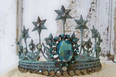 Brass rusty blue crown tiara embellished French Santos style aged statue embellishment home decor Anita Spero