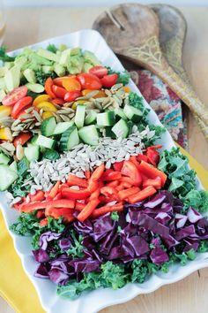 Loaded Veggie Chopped Kale Salad w/ Tangy Mustard Vinaigrette ~ Veggie Inspired