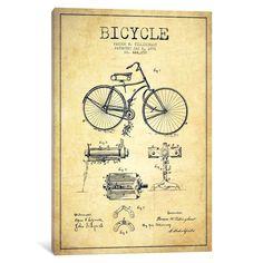 20 free vintage printable blueprints and diagrams remodelaholic icanvas bike vintage patent blueprint by aged pixel canvas print malvernweather Images